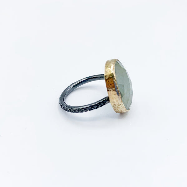 Moss Aqua Ring with 14 Karat Yellow Gold Bezel and Sterling Silver OX Band