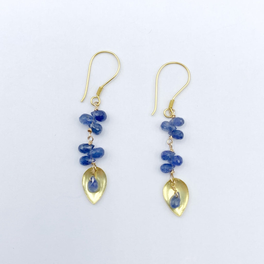 18 Karat Yellow Satin Gold Drop Earrings with Briolette Sapphires