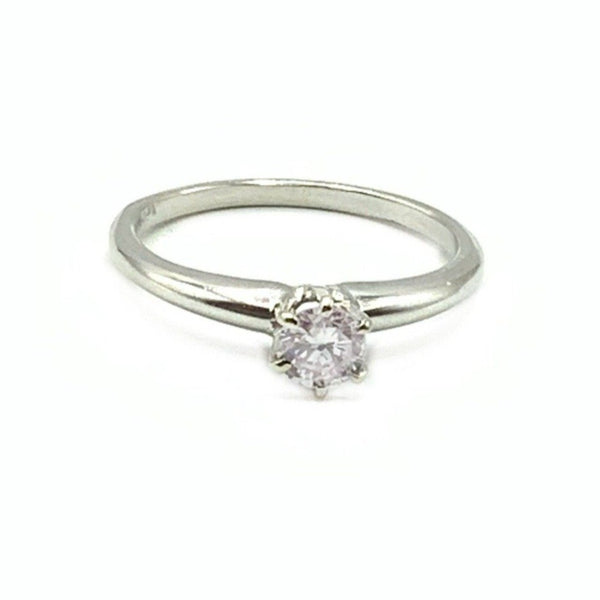 14 Karat White Gold Ring With 0.38 Carat Round Diamond