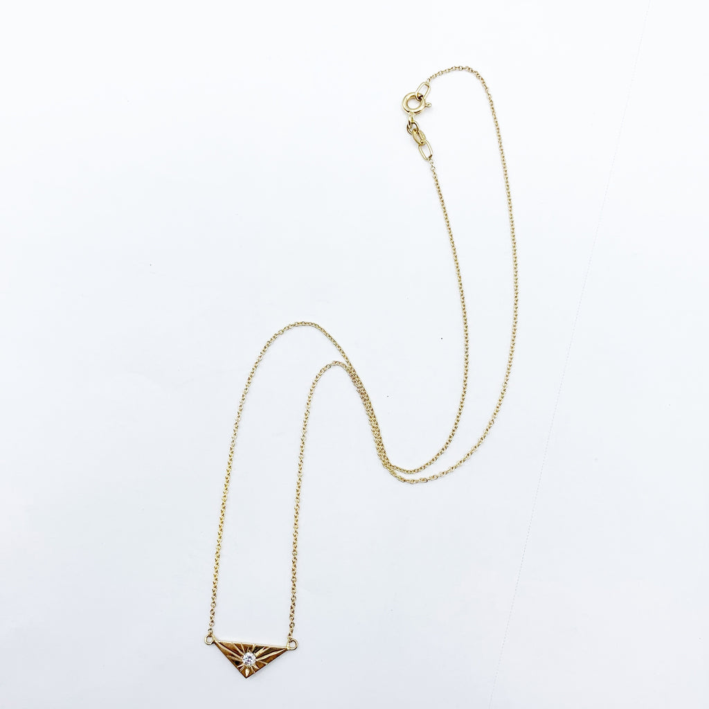 14 Karat Yellow Gold Triangle with Diamond Necklace