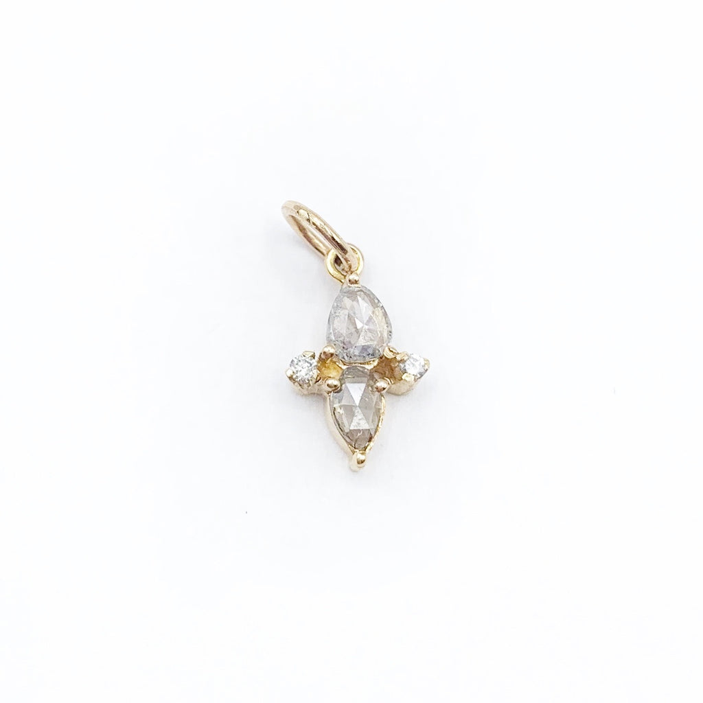 14 Karat Yellow Gold and Rosé Cut Diamond Pendant