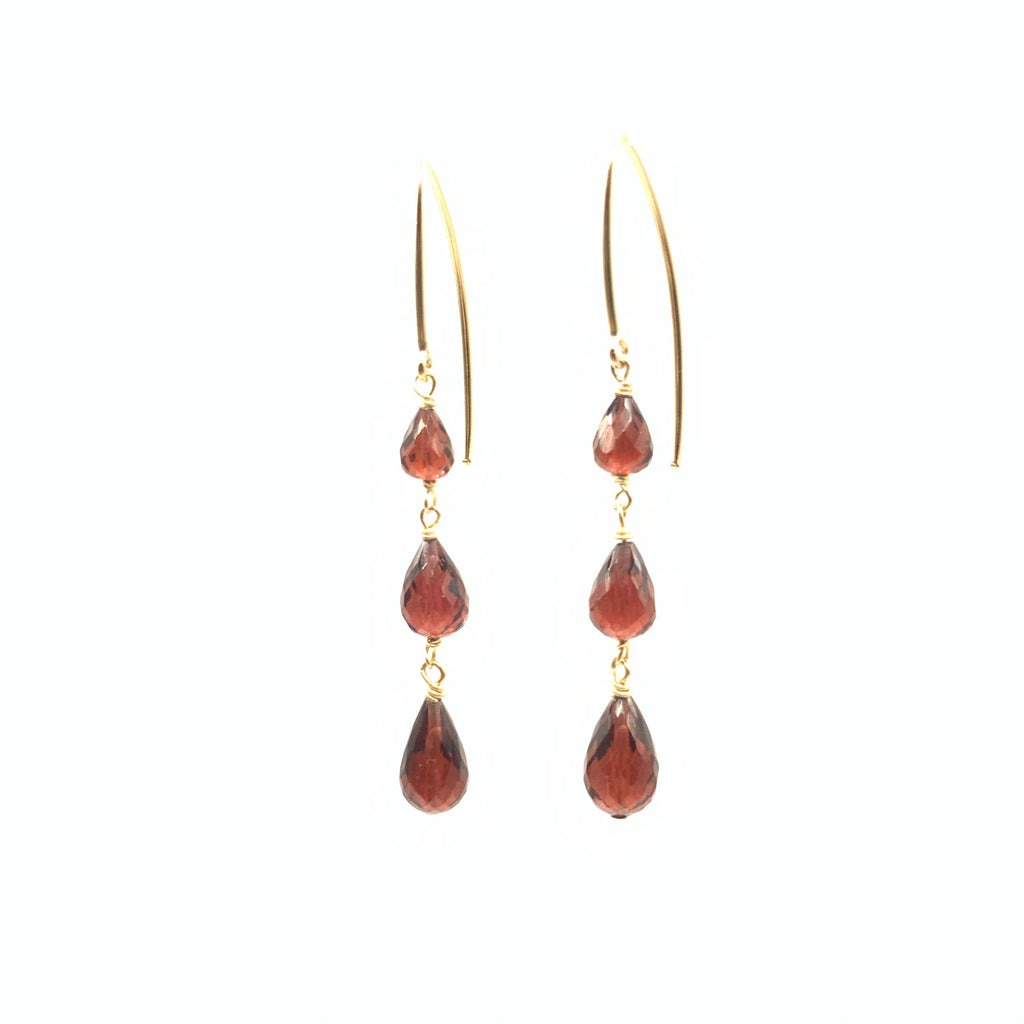 Yellow gold Filled Earrings with Pear Shape Garnets