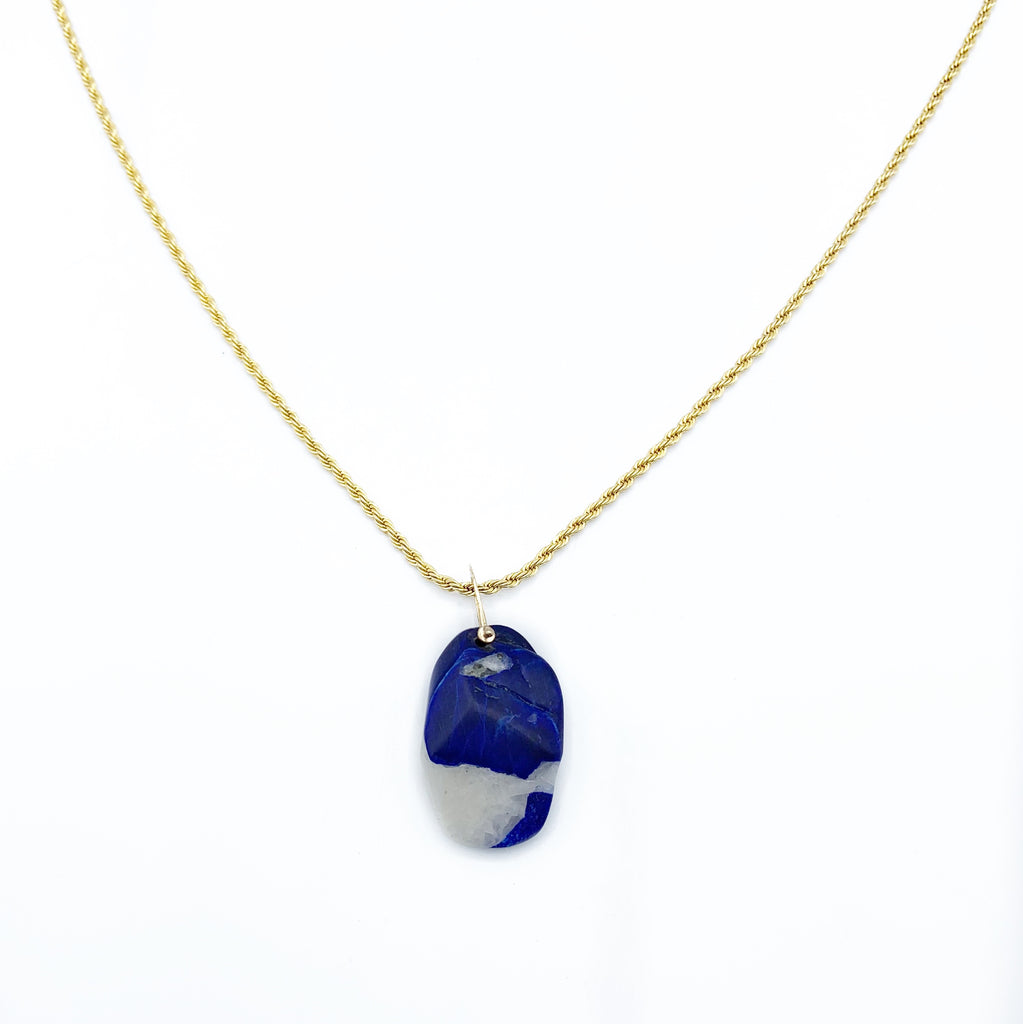 Lapis and Chalcite Drop Pendant