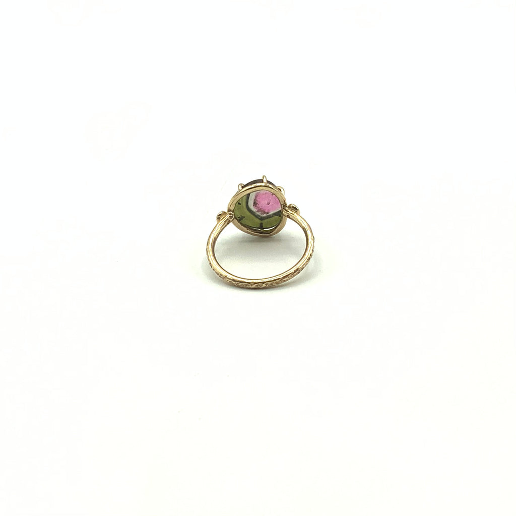 Watermelon Tourmaline Diamond Ring With 14 Karat Yellow Gold Hammered Finish Band