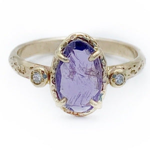 Rose Cut Purple Sapphire and Diamond Ring