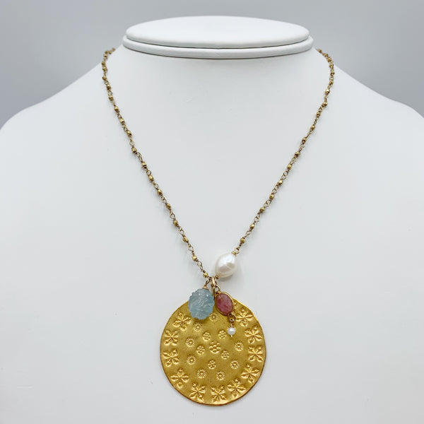 Gold Vermeil Disc with Aquamarine and Pearl Drops Necklace