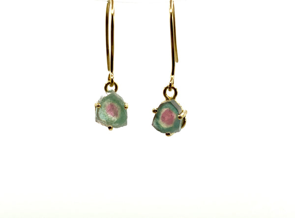 Watermelon Tourmaline 14 Karat Yellow Gold Earrings