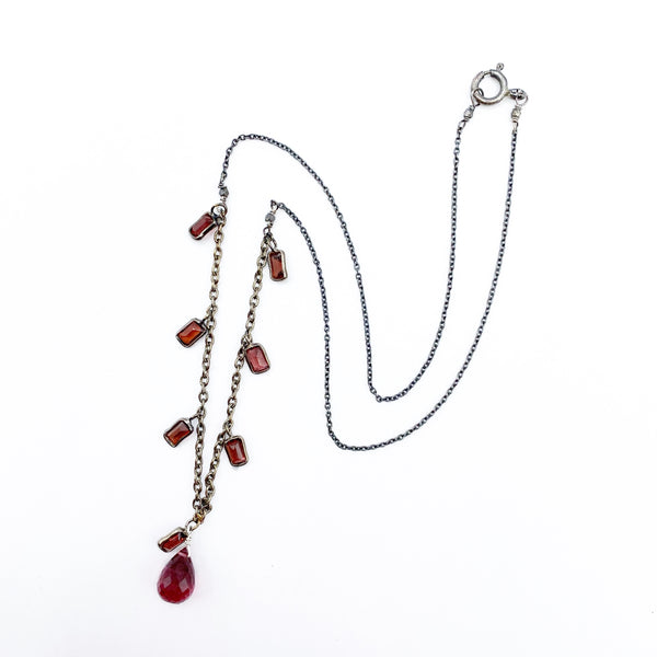 Oxidized Sterling Silver Necklace with Various Shaped Garnets