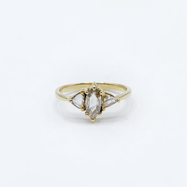 14 Karat Yellow Gold Diamond Ring with One Marquise Diamond and 2 Triangle Shaped Diamonds