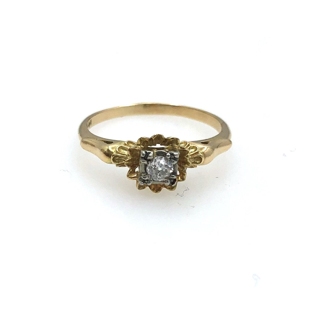 14 karat Gold Ornate 0.12 ct Diamond Ring