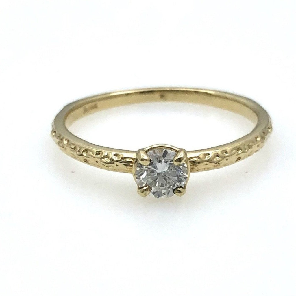 14 Karat Engraved Diamond Ring