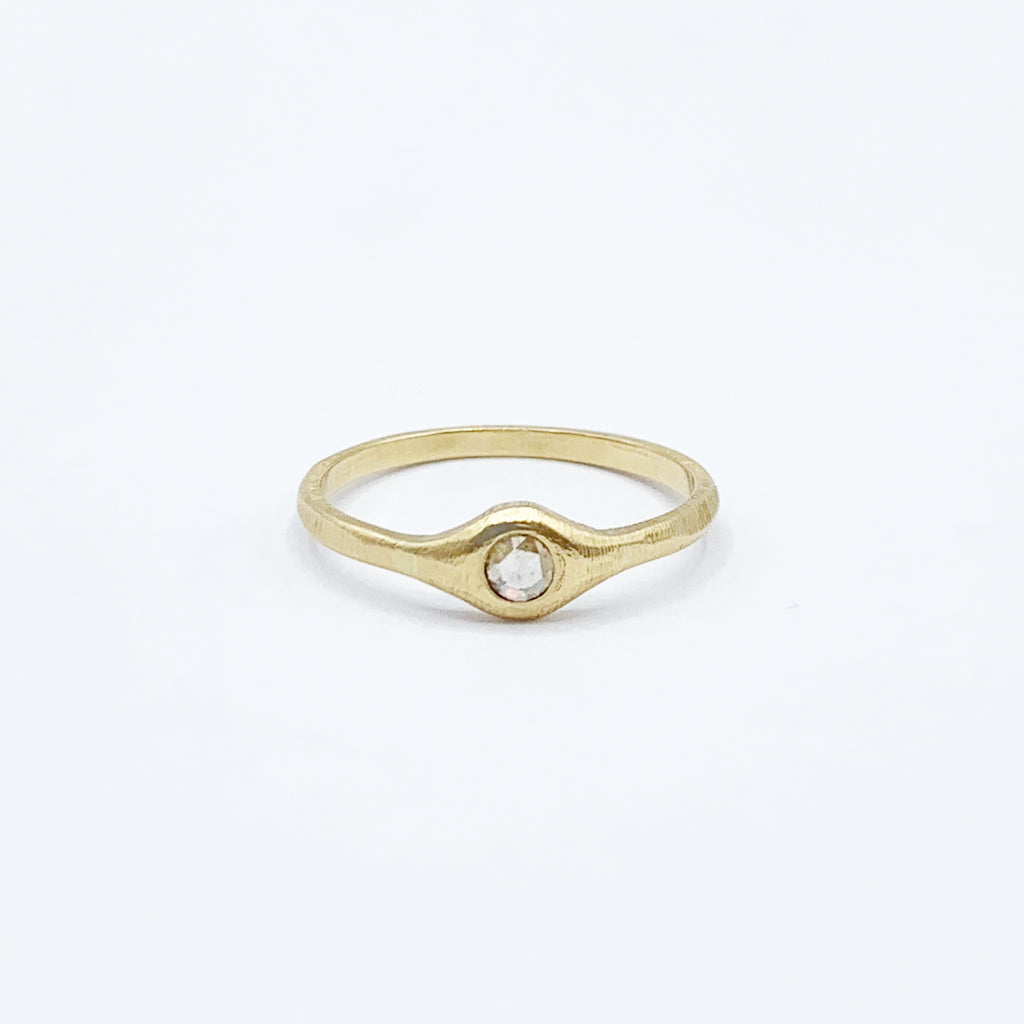 18 Karat Yellow Satin Gold Diamond Ring