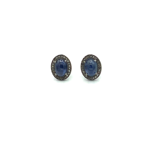 Sapphire Diamond Post Earrings Set in Oxidized Silver