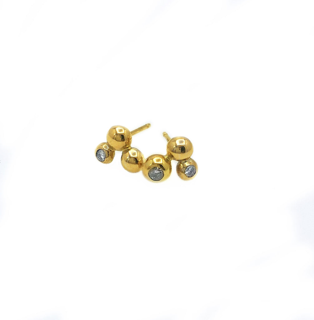 Organic Inspired Diamond and 14 Karat Three Ball Studs