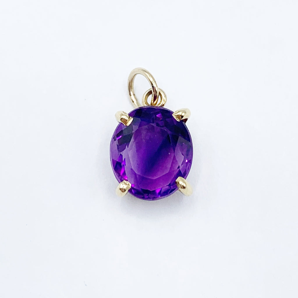 Amethyst Beads Gold Filled Necklace with Amethyst Pendant