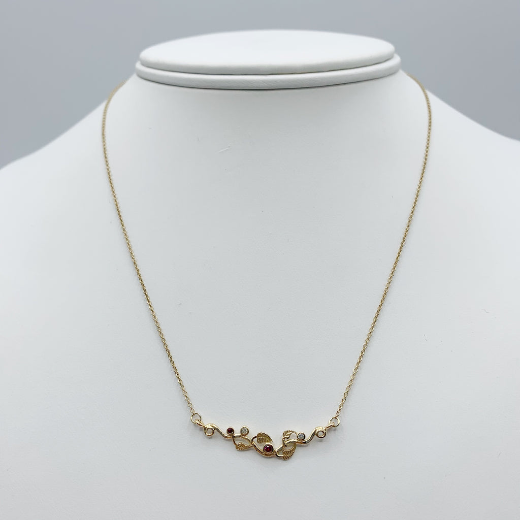14 Karat Yellow Gold Branch with Rubies and Diamonds Necklace