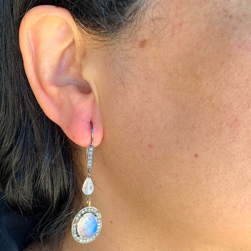 Sterling Silver and Gold Vermeil Moonstone and Diamond Drop Earrings