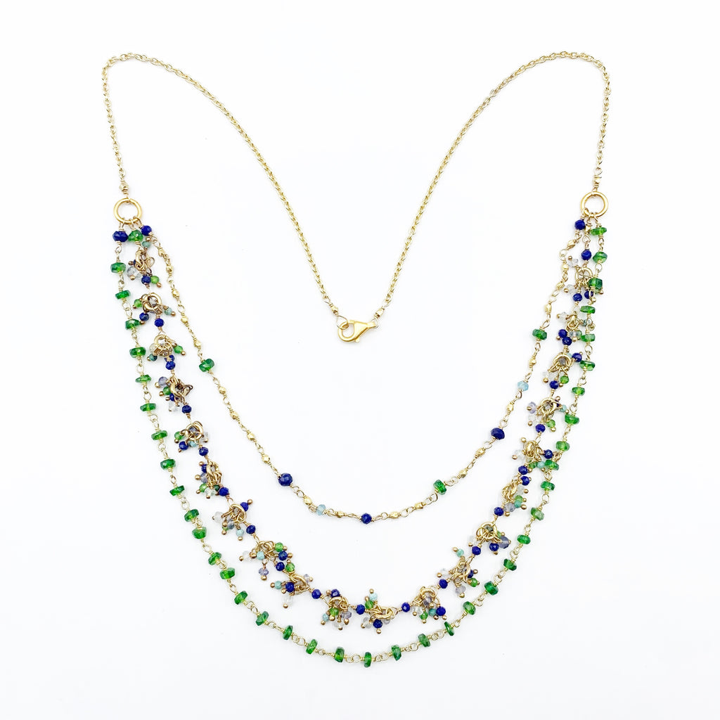 Yellow Gold Plated Necklace with Beaded Diopsides, Lapis's, Labrodorites, and Turquoise's