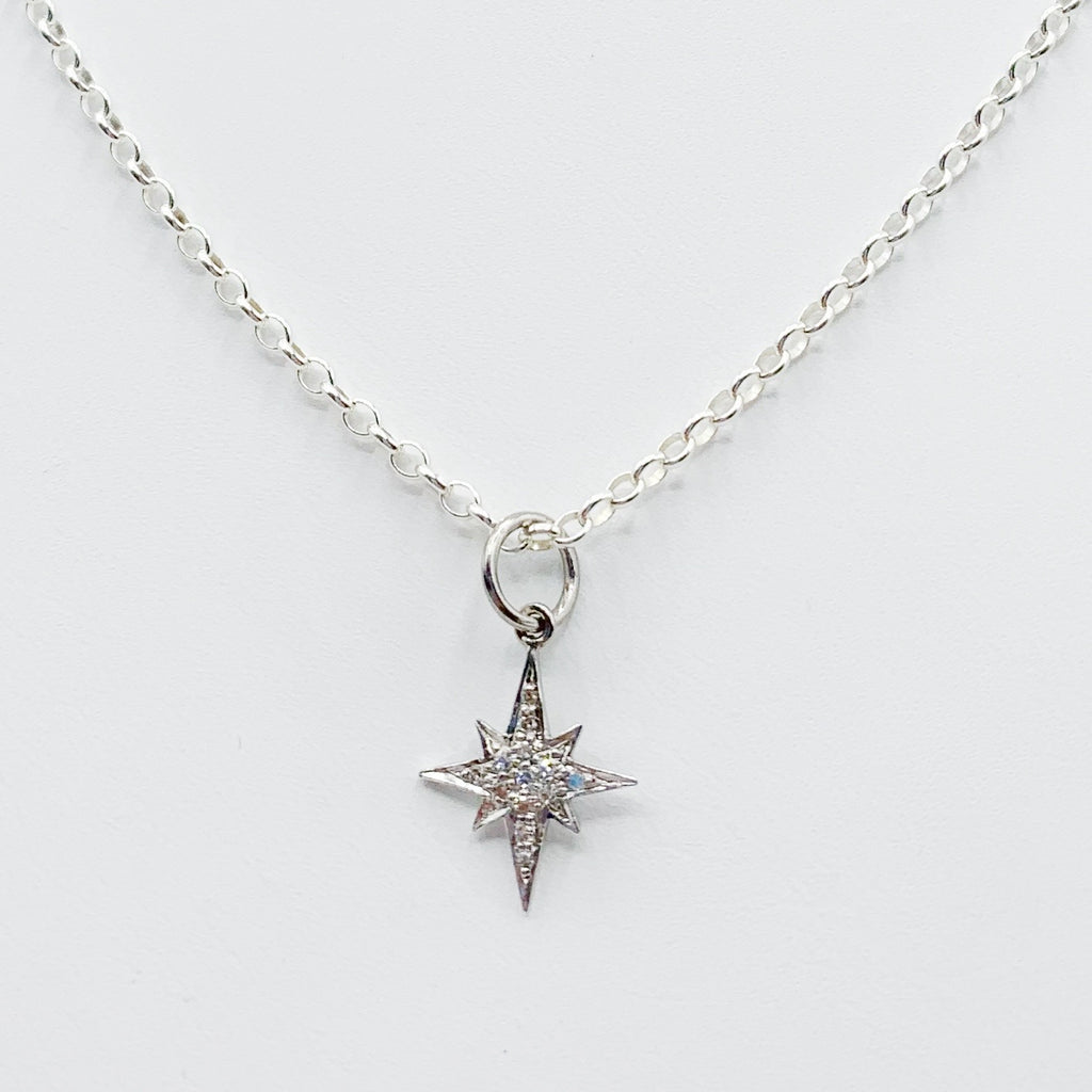 Sterling Silver Star Pendant with Diamonds