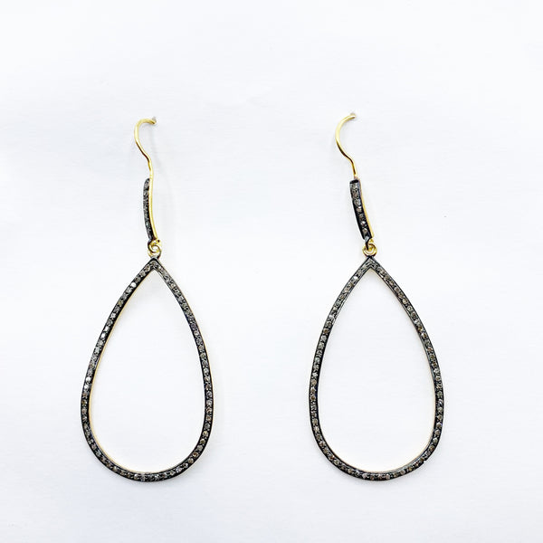 Large Teardrop Diamond and Gold Vermeil Earrings
