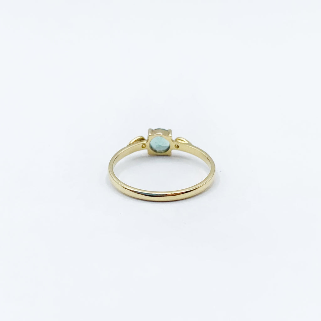 Light Blue Green Sapphire and Diamond Wedding Ring in 14 Karat Yellow Gold