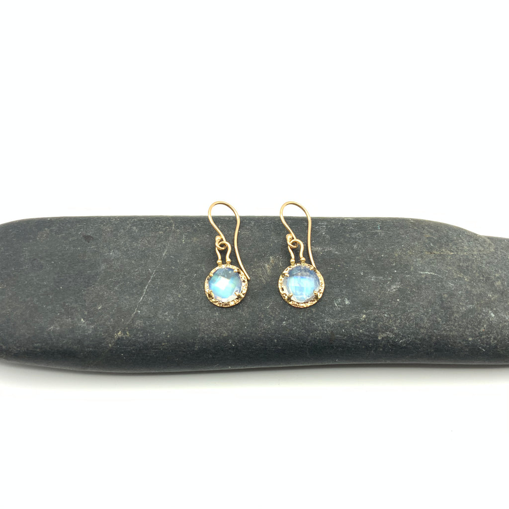 14 Karat Yellow Gold Moonstone Faceted Cut Earrings.