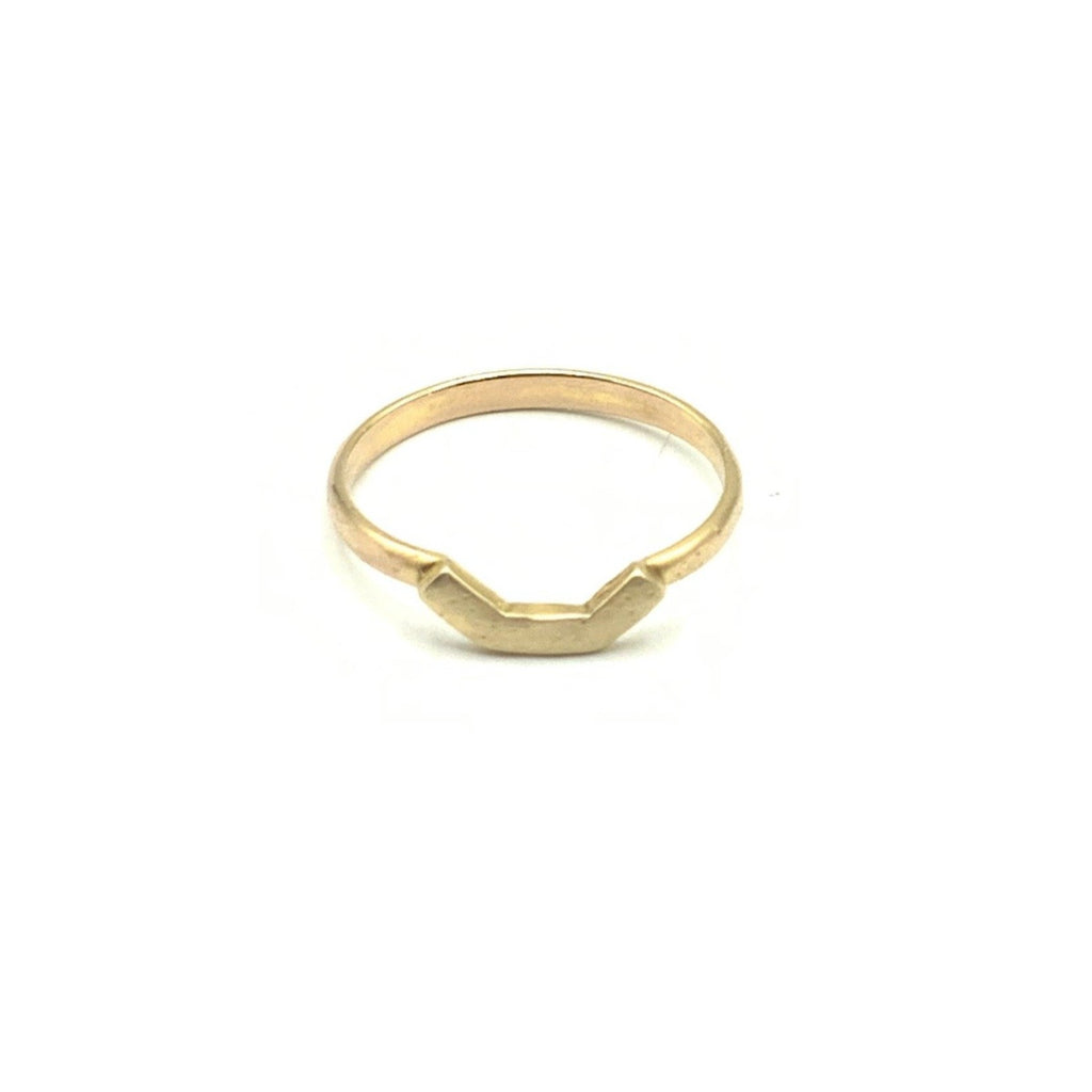 14 Karat Yellow Gold Curved Textured Ring