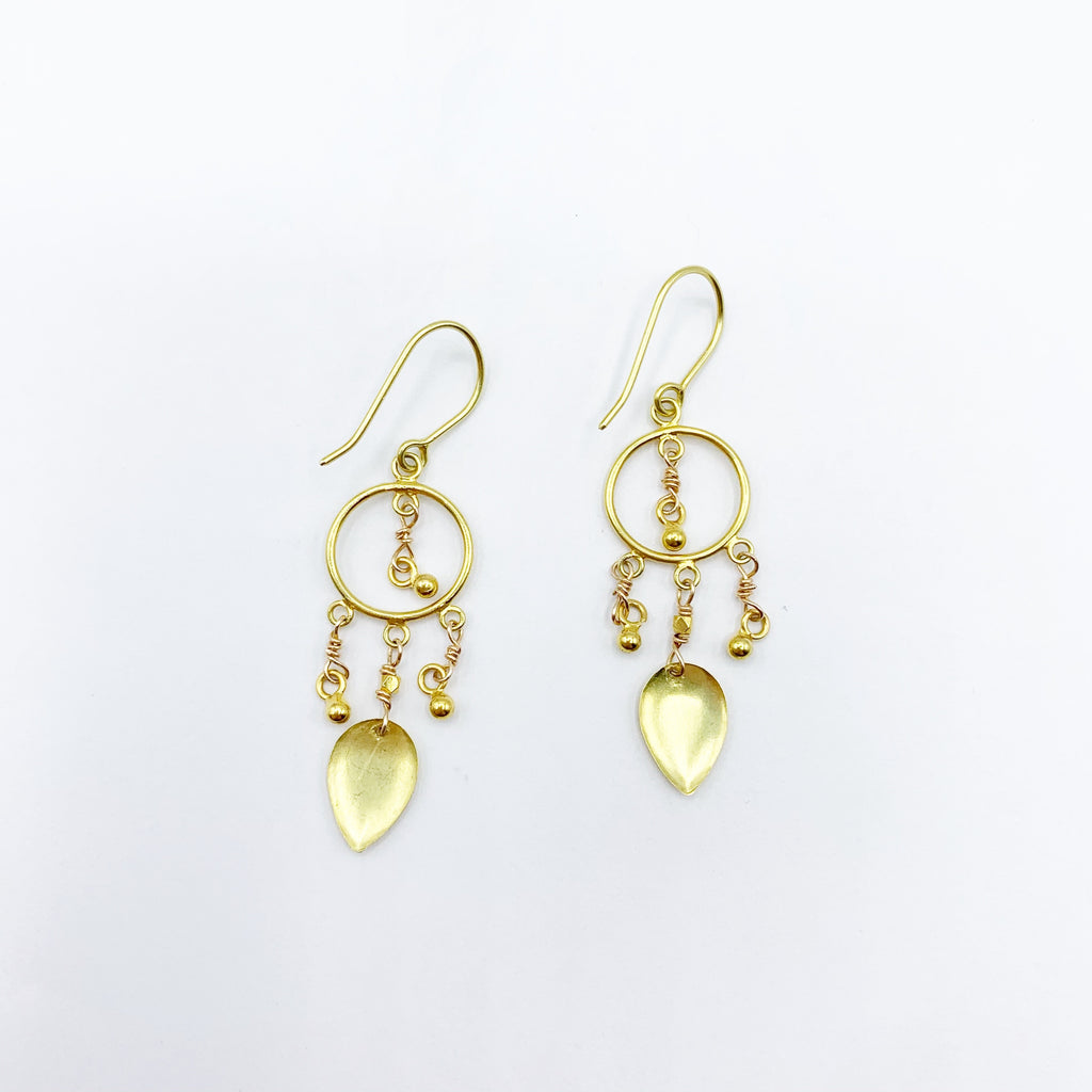 18 Karat Yellow Gold Polished and Satin Drop Earrings
