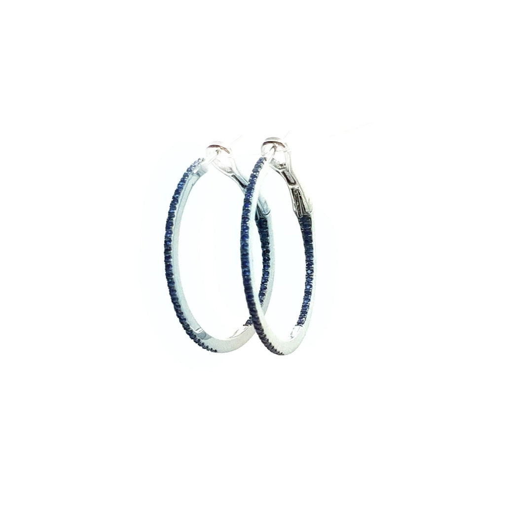 Sapphire Hoop Earrings in 14 Karat White Gold