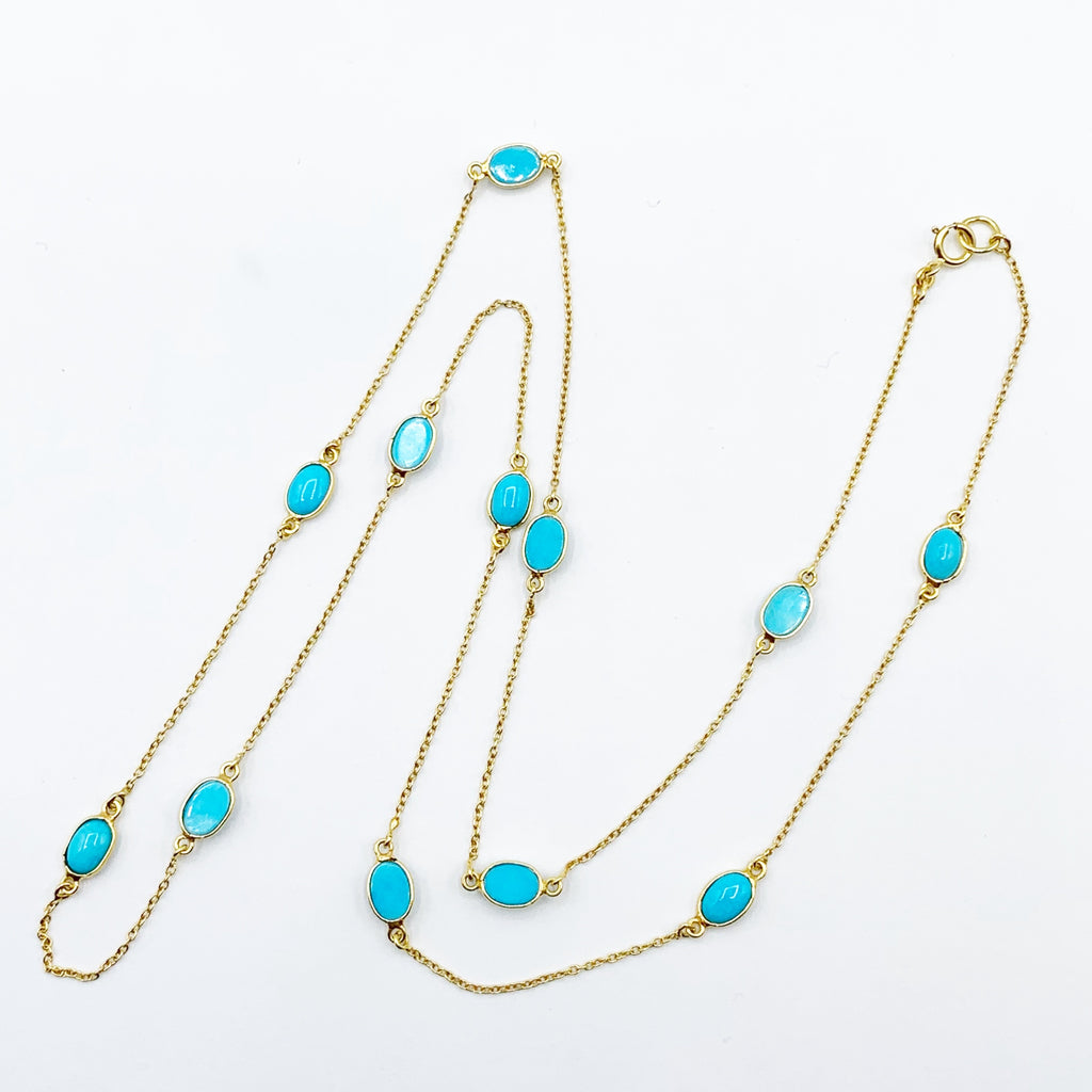 14 Karat Yellow Gold Chain with Sleeping Beauty Turquoise Necklace