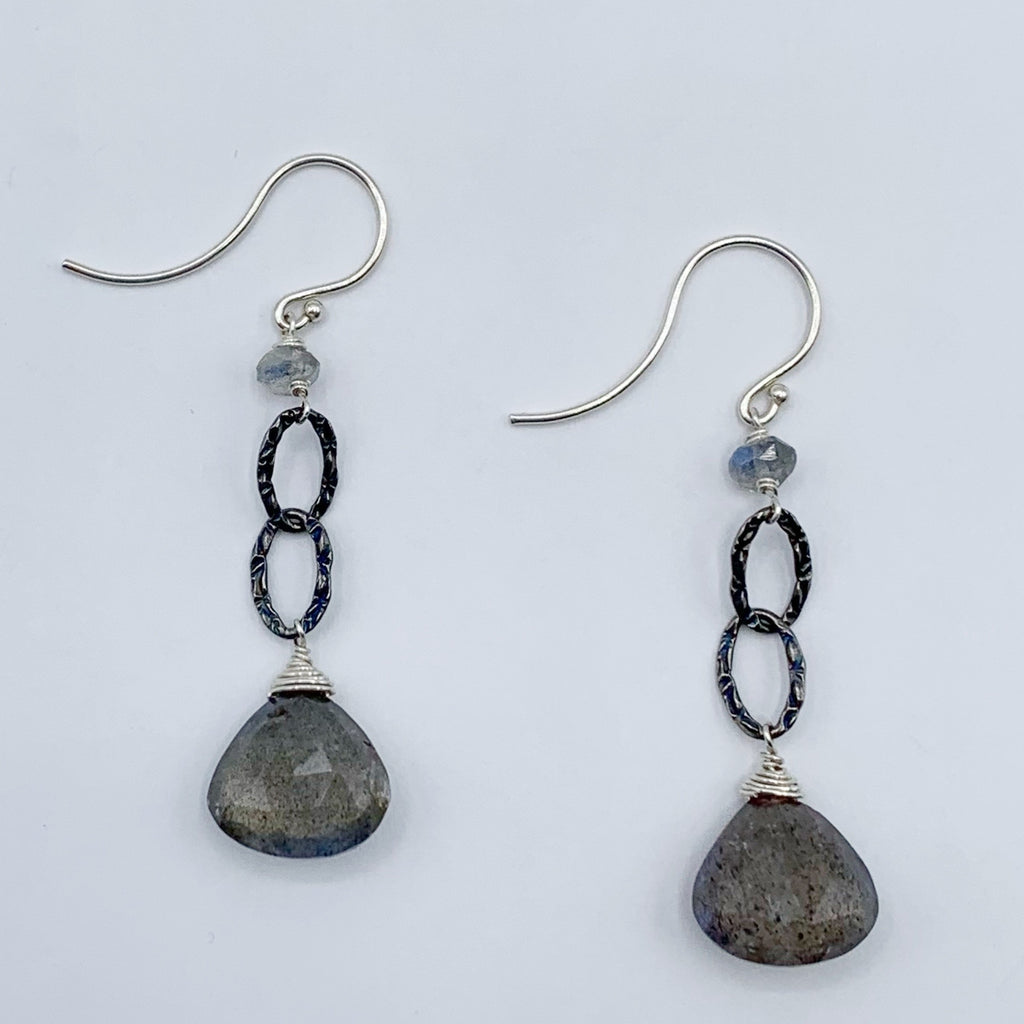 Sterling Silver with Labradorite Briolettes on Wire Earrings