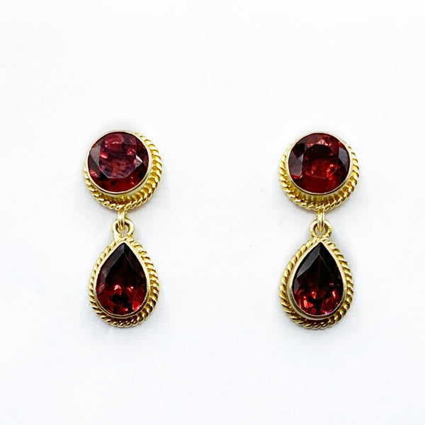 18 Karat Yellow Gold Garnet Drop Earrings