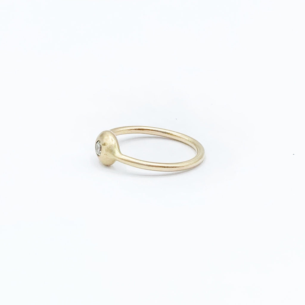 14 Karat Yellow Satin Gold Diamond Ring