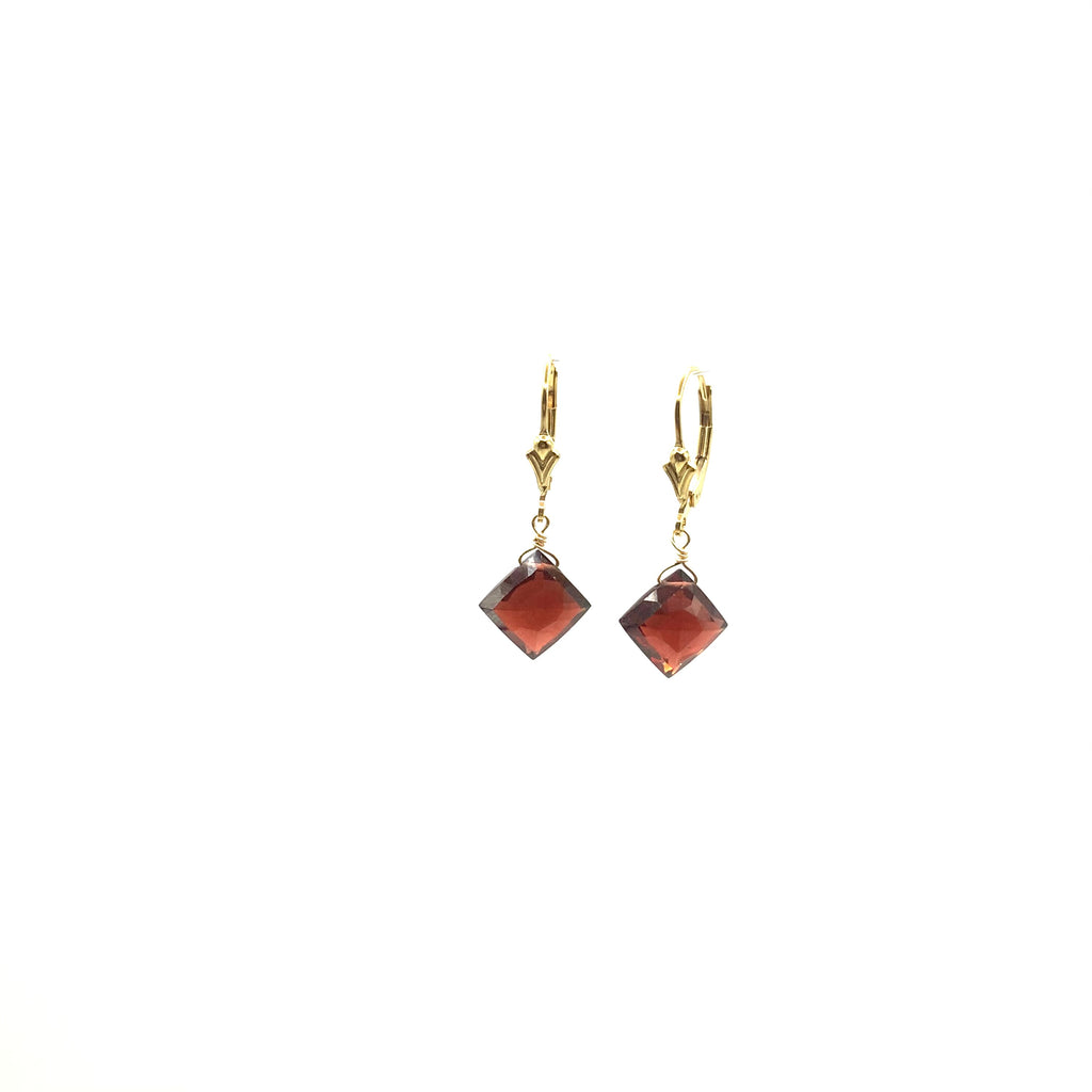 Square Shape Garnet Briolette Earrings Hanging From Yellow Gold Filled Ear Wire