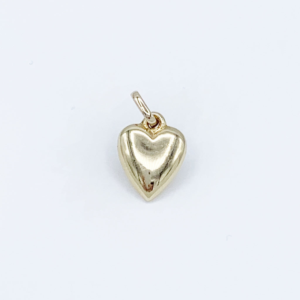 14 Karat Yellow Gold Drop Charm Heart Shape Pendant