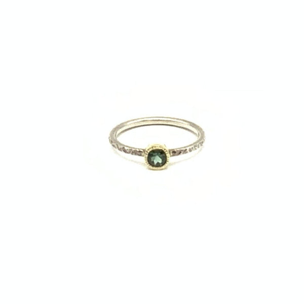 Green Tourmaline Ring in 14K Yellow Gold and Sterling Silver