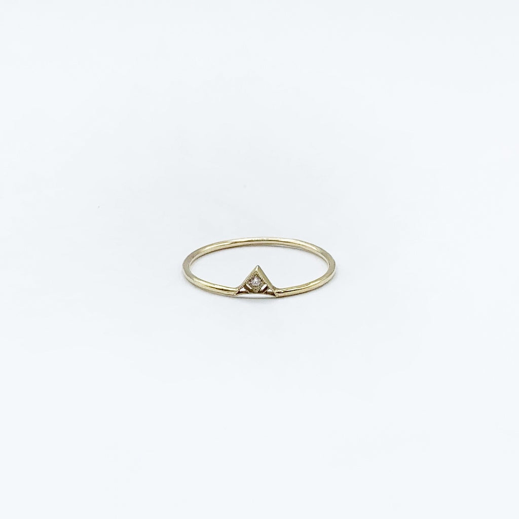 14 Karat Yellow Gold Diamond Ring with Triangle Design
