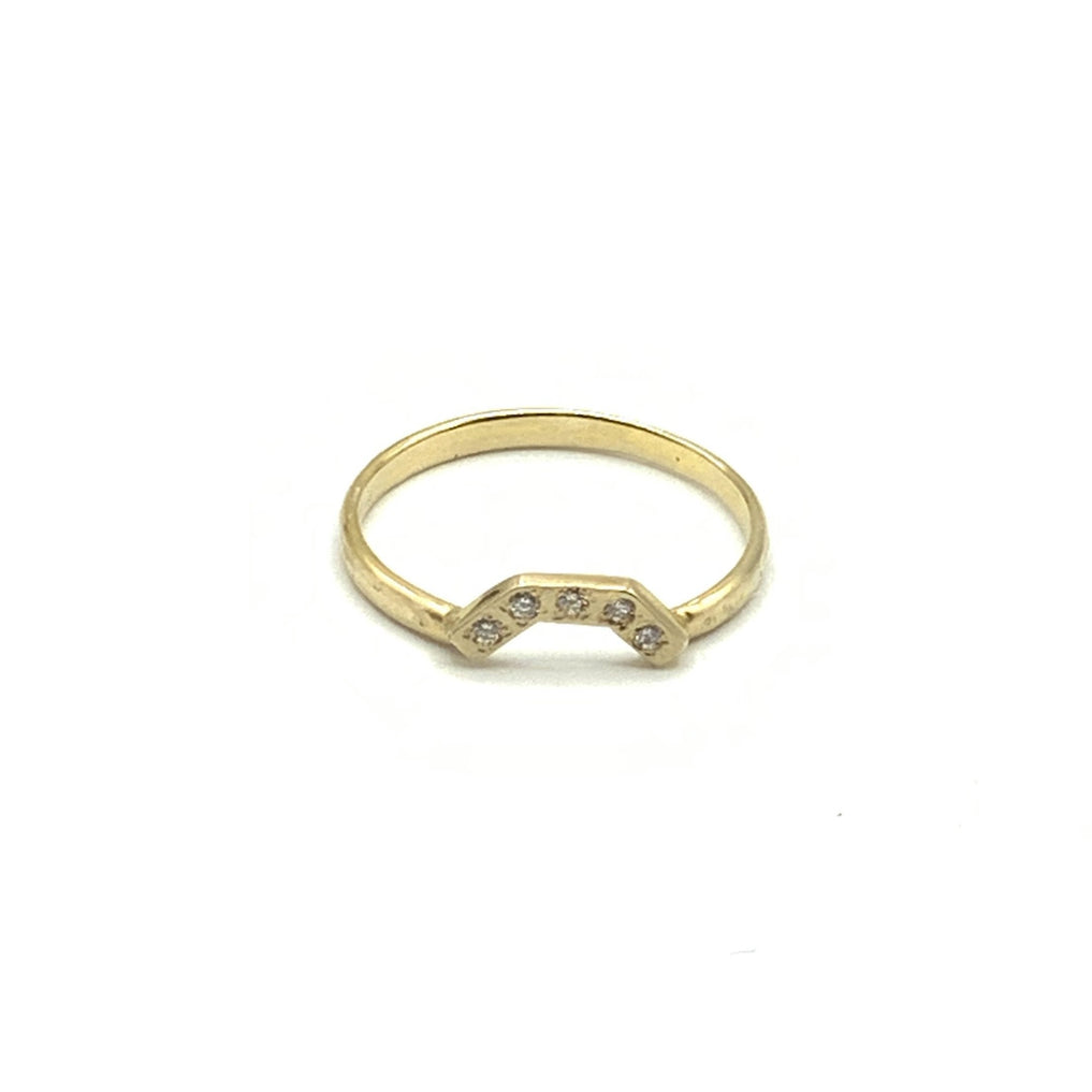 14 Karat Yellow Gold Textured, Curved Wedding Ring With 0.05 Total Weight Diamond.