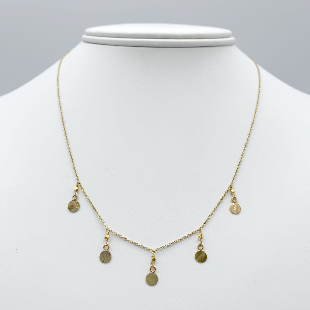 14 Karat Yellow Gold Necklace with 18 Karat Textured Drops