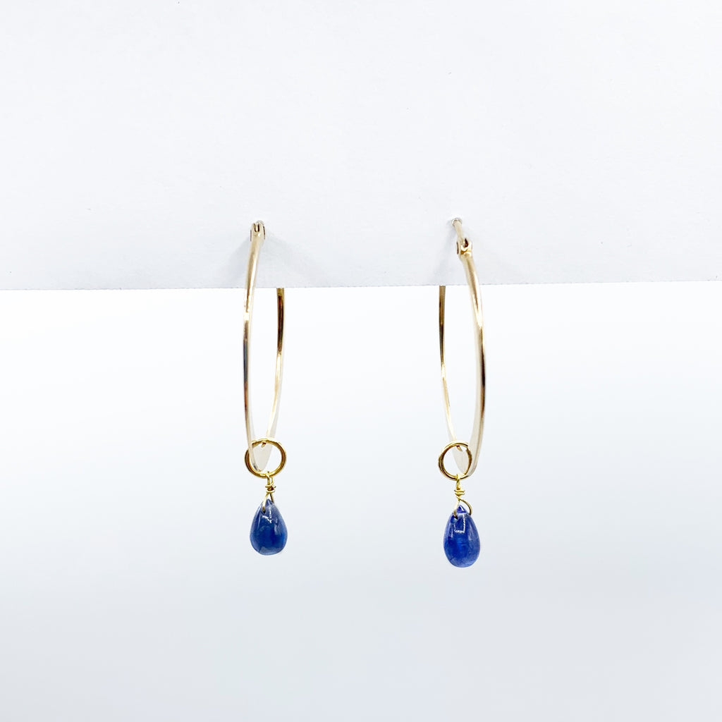 14 Karat Gold Hoop Earrings with Gold and Sapphire Drops