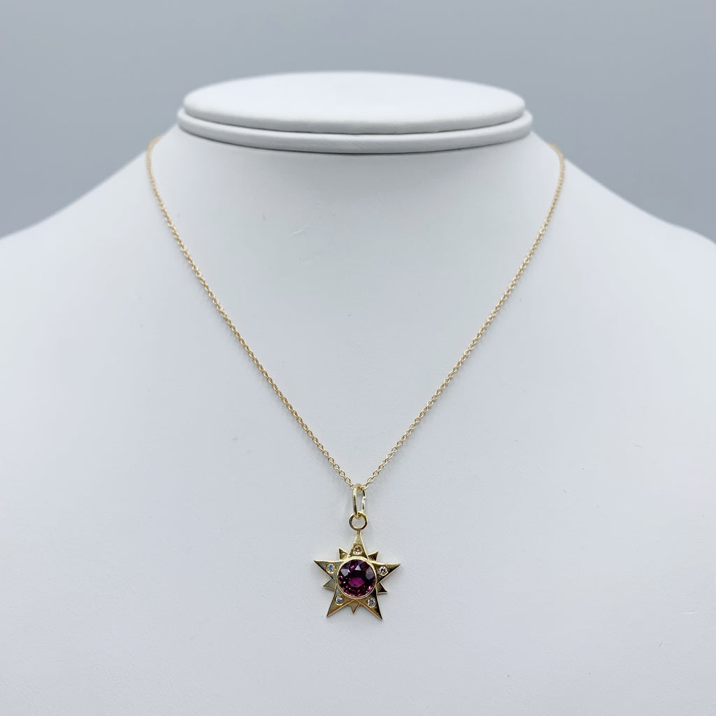 14 Karat Yellow Gold Red Spinel and Diamonds Star Pendant