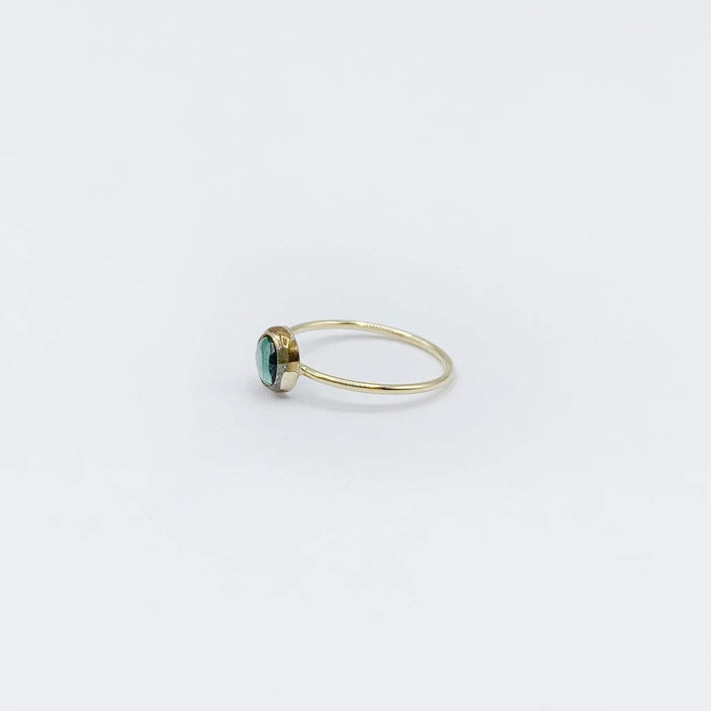 14 Karat Yellow Gold Ring with One Round Tourmaline