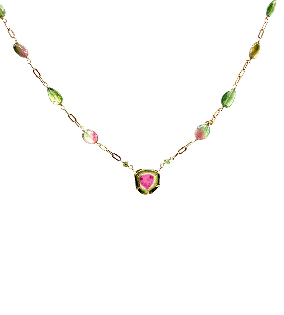 Tourmaline Necklace With 14 karat Rose Gold Chain