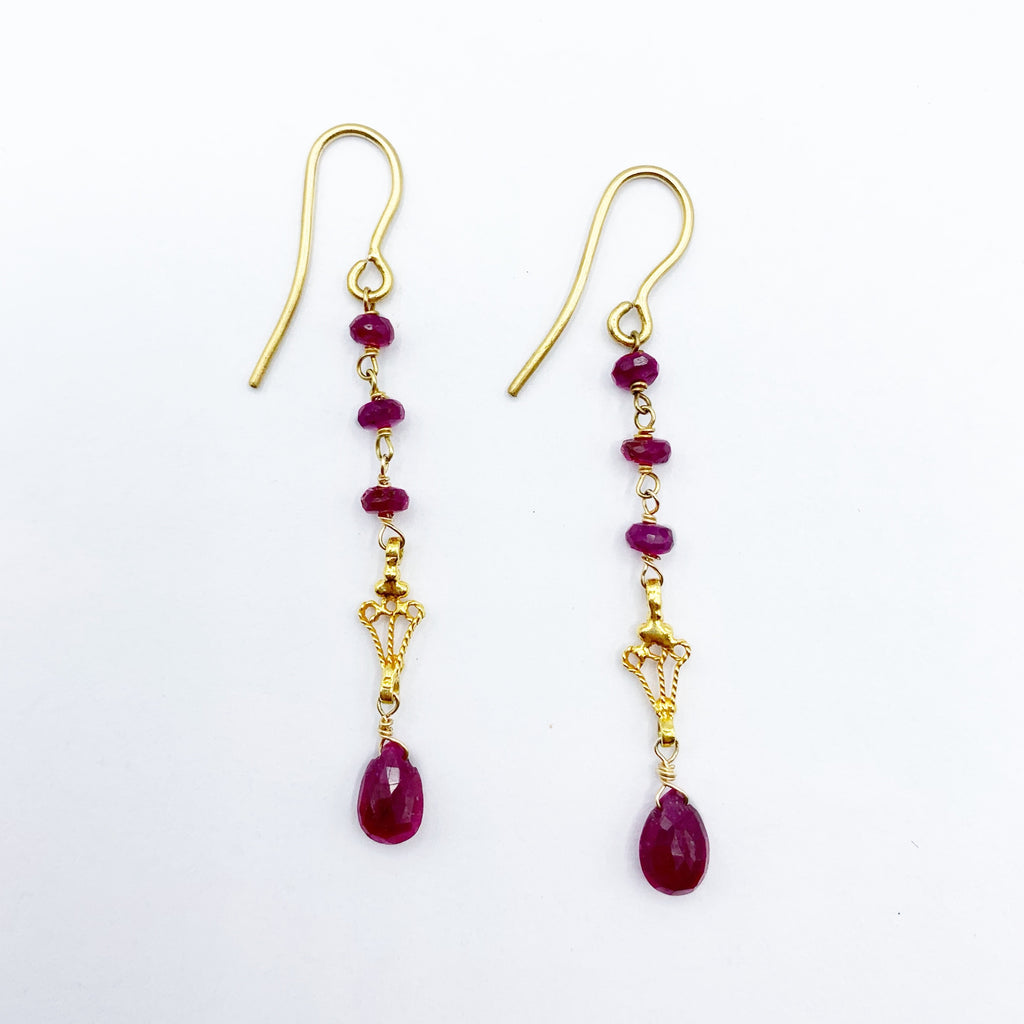14 Karat Yellow Gold Drop Earrings with Ruby's