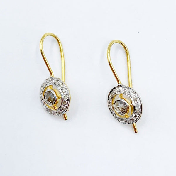 18 Karat Gold and Diamond Delicate Orbit Earrings