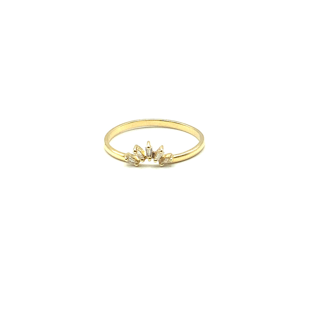 14 Karat Yellow Gold  Curved Crown Shape  0.14 Carat Five Baguette Diamond Ring.