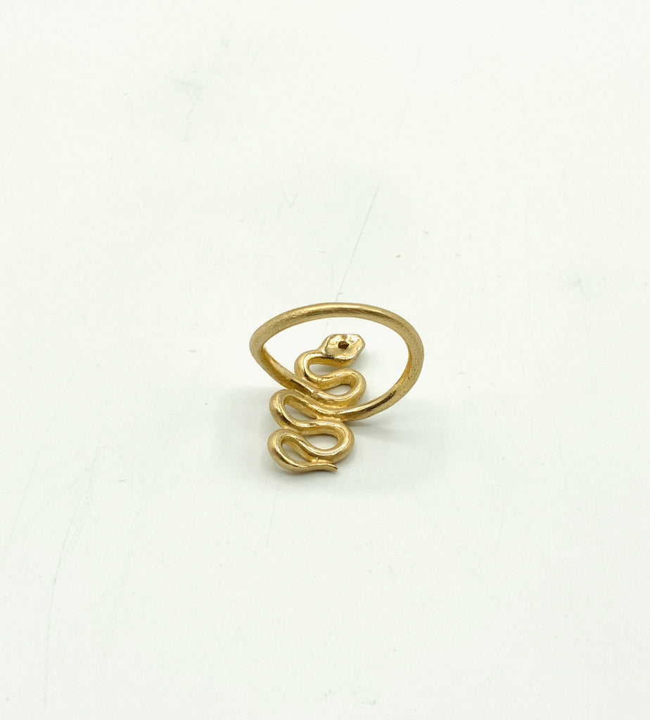 14 karat Yellow Gold Matte Finish Snake Ring With Rose Cut Diamond Head