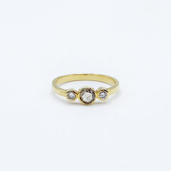 14 Karat Yellow Gold Diamond Ring with One Round Champagne and Two Round White Diamonds