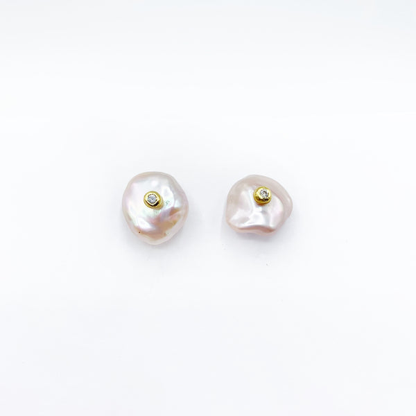 14 Karat Pink Freshwater Pearl and Diamond Earrings