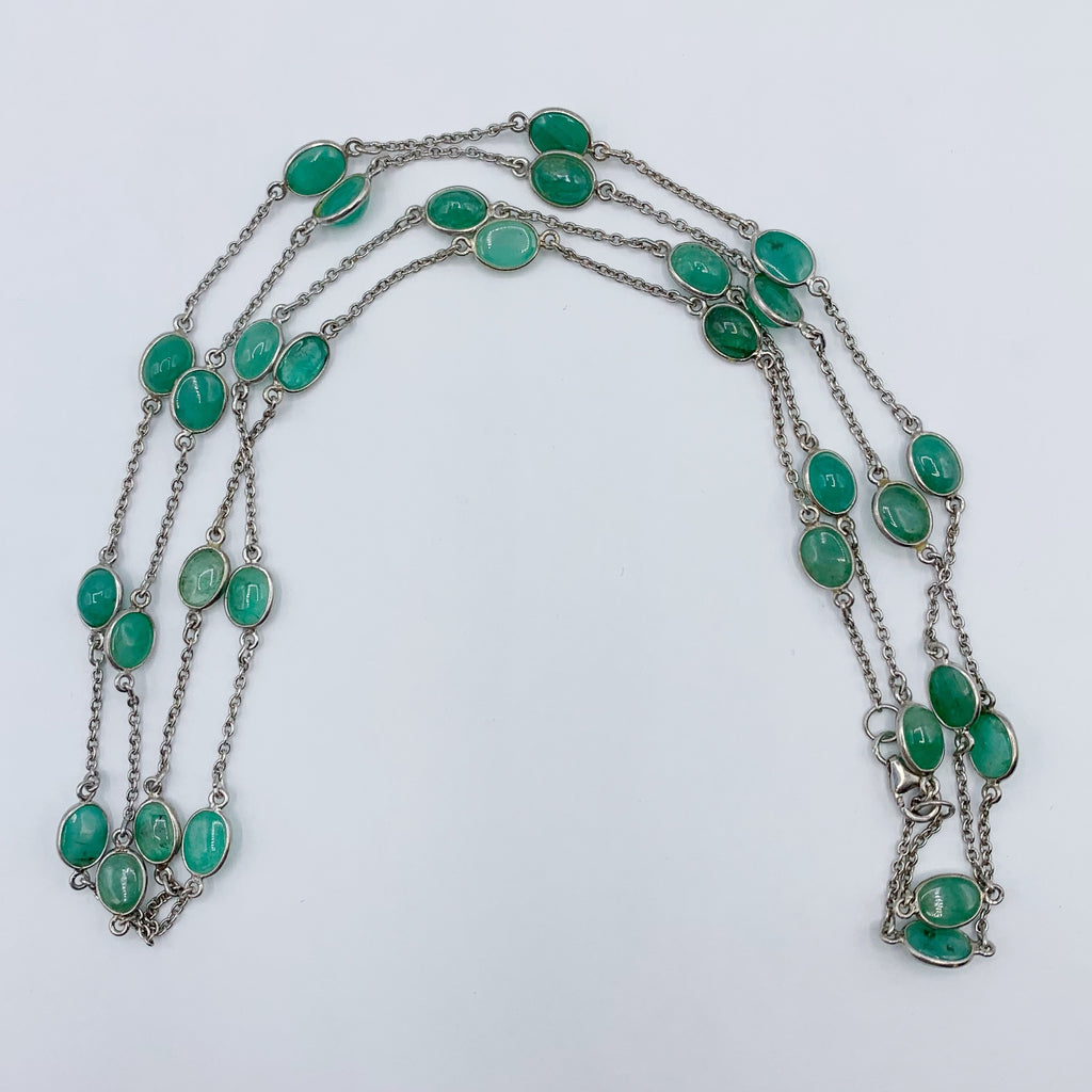 Sterling Silver Open Link Emerald Necklace